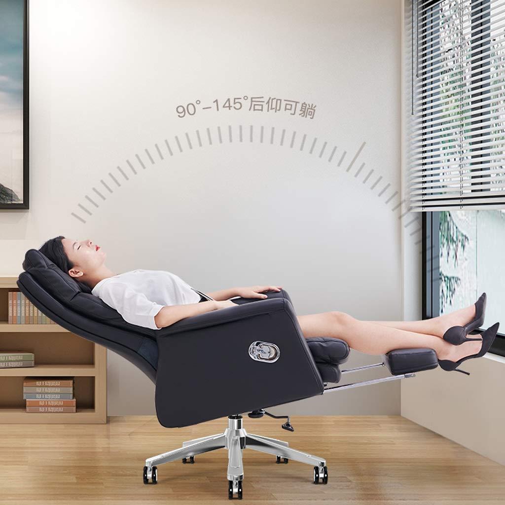 Aoyo stolar hushåll läder chef stol, bekväm sits svängbar stol datorstol, kontor stol, vilande kontorsstol (färg: Tech läder med fotstöd) Tech Leather-with Footrest