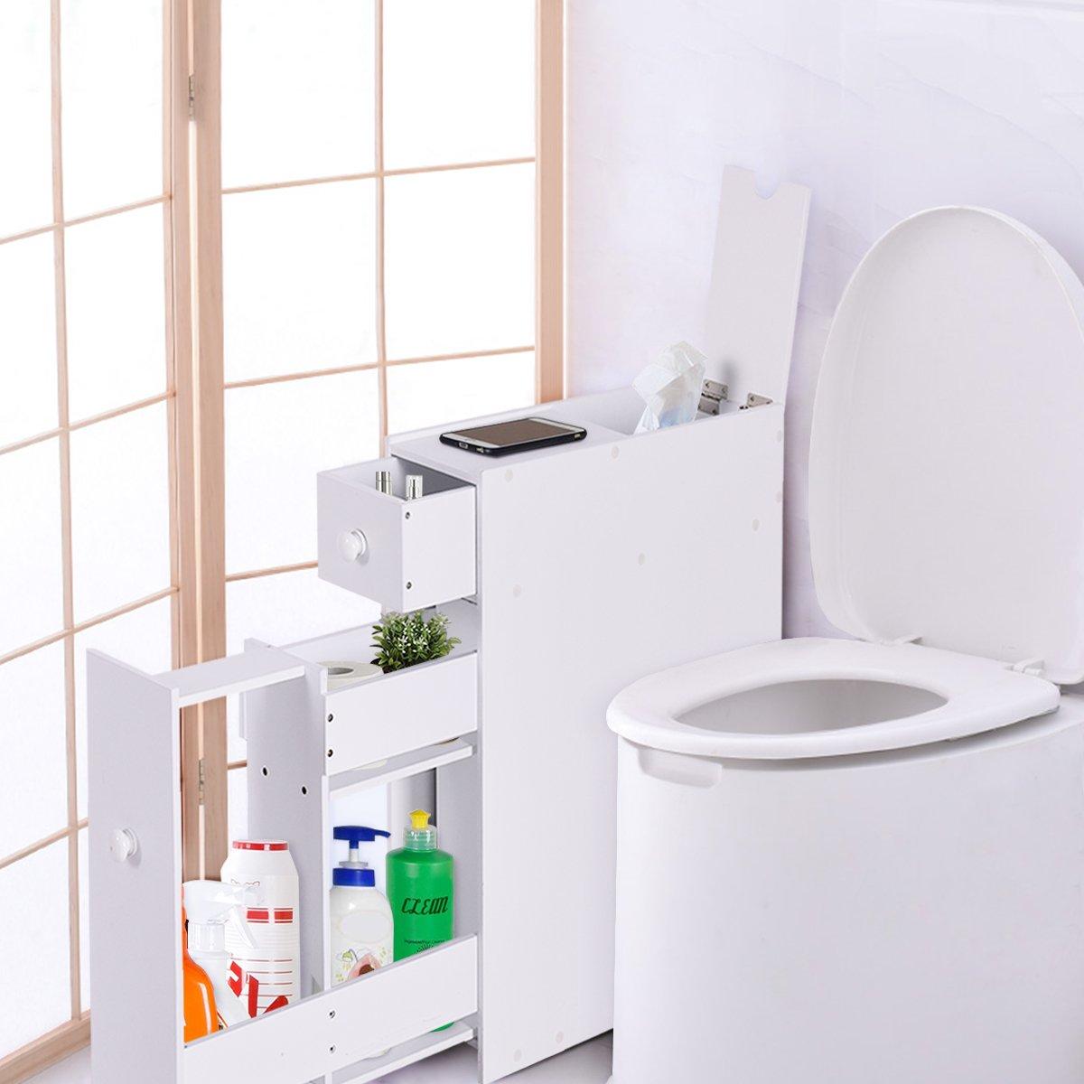 Amazon.com: Tangkula Bath Toilet Cabinets Drawers Stand Space Saver ...