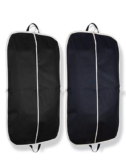 Bidear Funda de trajes de negro de viaje para ropa con asas y bolsillo, 110 x 60 cm (2 unidades)