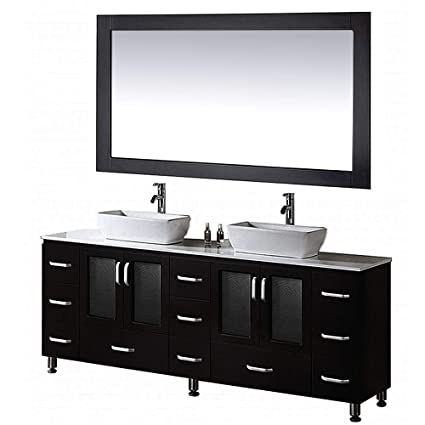Double Bowl Sink Vanity.Design Element Stanton Double Vessel Sink Vanity Set With Espresso Finsh 72 Inch