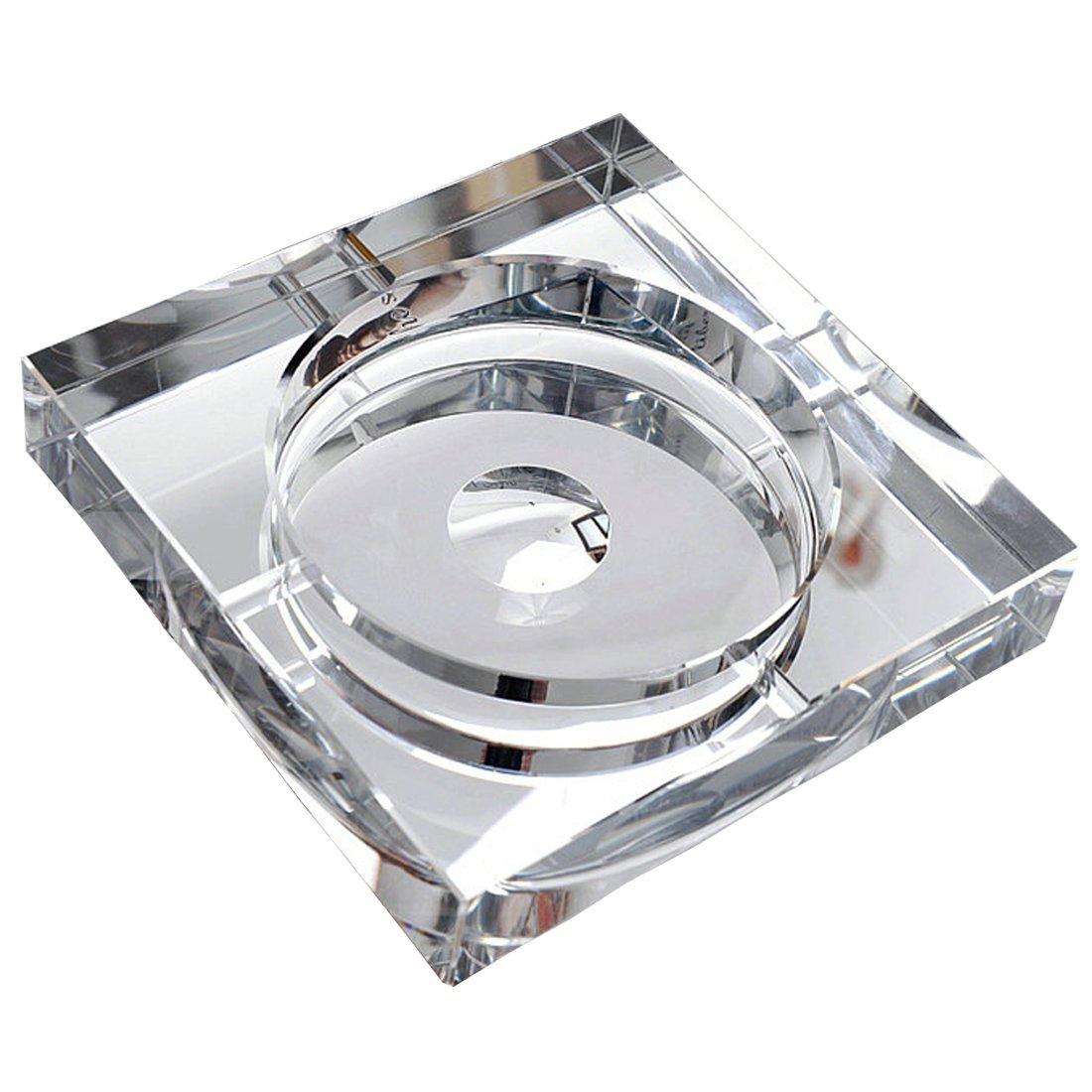 OSONA スクエア 高級 卓上灰皿 Ashtray 灰皿 おしゃれ アッシュトレイ オシャレ 屋外 置物 インテリア クリスタル ガラス シルバー 20cm B01HCZ7814 20cm|シルバー シルバー 20cm