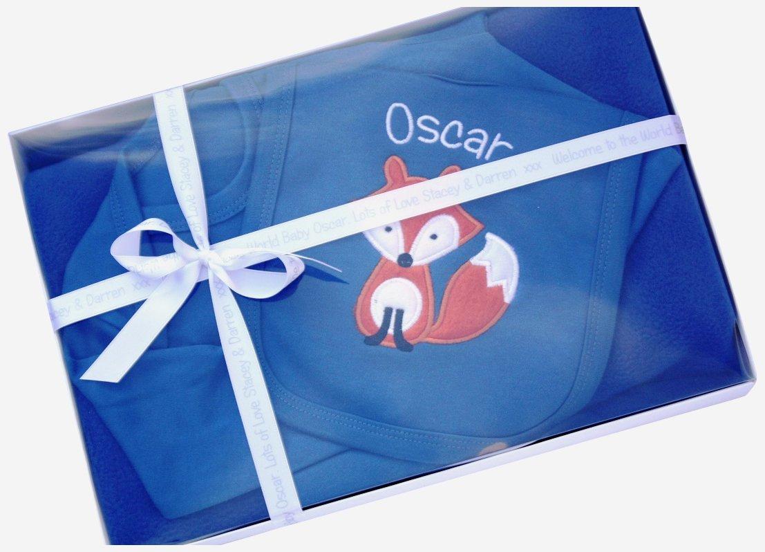 5ddc32ffdedb Personalised Baby Boy Gift Set Sleepsuit Blanket   Bib Boxed Cute Fox Newborn  Gift (6-12 Months