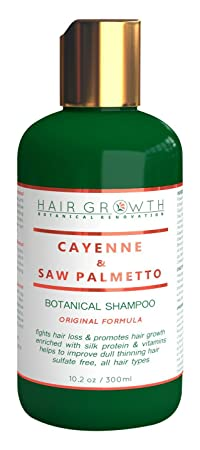 Hair Growth Cayenne Saw palmetto Scalp Stimulating Botanical Shampoo, Original Formula Fights Hair Loss 10.2 oz