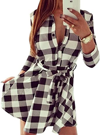 Tomwell Femme Tunique Robe Chemisier A Carreaux Vintage Manches 3 4 Casual Shirt Chemise Robe Automne Amazon Fr Vetements Et Accessoires