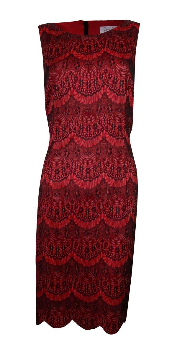Jessica Simpson Women's Lace Sheath Dress Beet Red Dress 10
