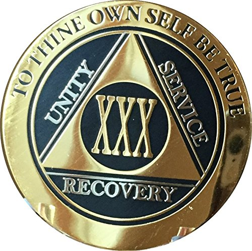 RecoveryChip 30 Year AA Medallion Elegant Black Gold Silver Bi-Plated Alcoholics Anonymous Chip ()