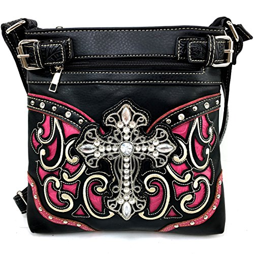 Justin West Embroidery Floral Rhinestone Silver Cross Laser Cut Tooled Leather Western Shoulder Concealed Carry Handbag Purse Messenger Bag Tote Wallet (Hot Pink Messenger Bag) (Hot Pink Purse Western)