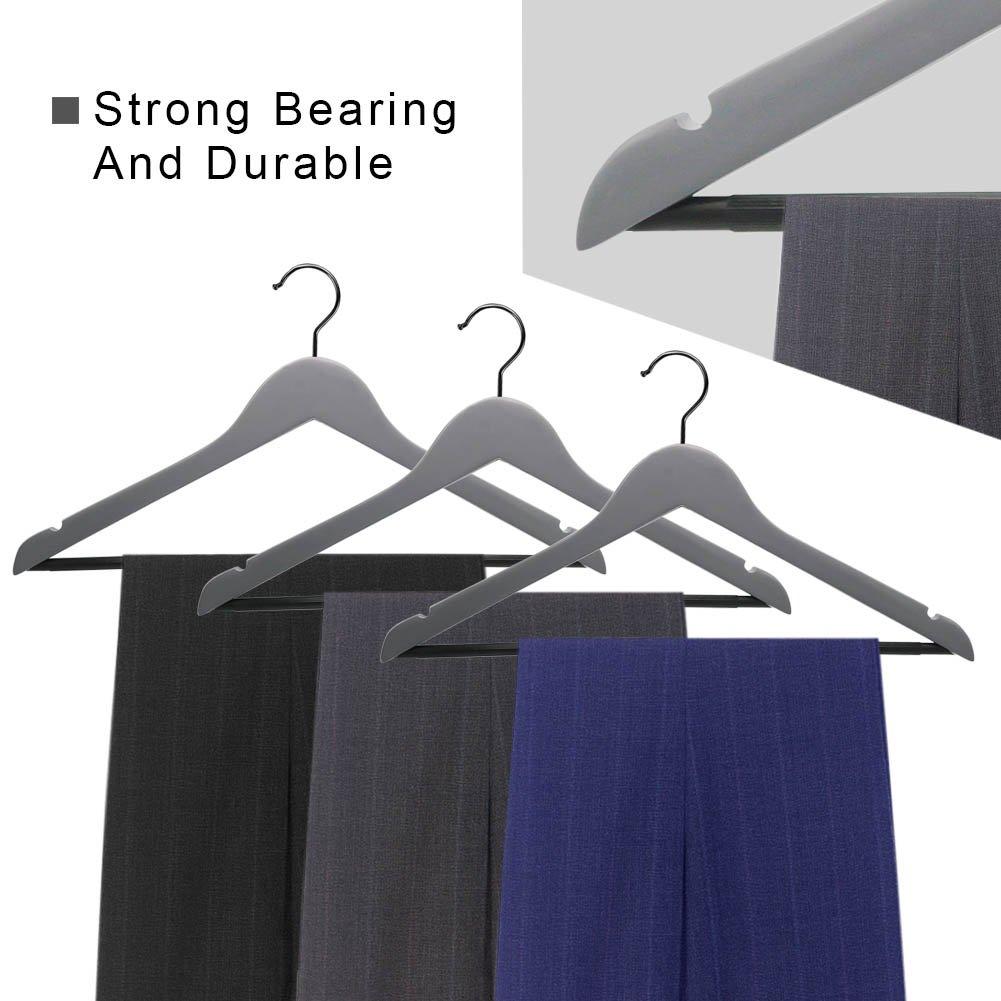 Perfecasa Grade A Solid Wood Hangers 20 Pack, Suit Hangers, Coat Hangers, Premium Quality Wooden Hangers (Gray) by Perfecasa (Image #3)