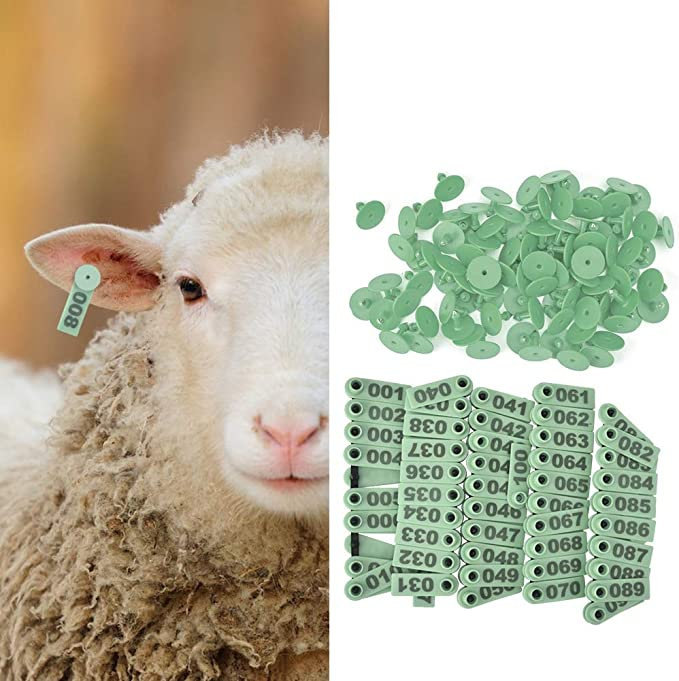 Ear Tag Mots Cl/és Oreille De Mouton Vert Moyen B/étail en Plastique Num/éro 001-100 /Étiquettes doreille pour Les Bovins De Moutons Porc 100pcs Ch/èvre Animal Vert