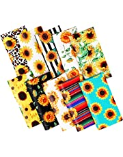 """Konsait 10 Pcs Sunflower Fabric, 9.5"""" x 9.5"""" Quilters Fabric Squares for Sewing Patchwork, Pre- Cut Bohemia Leopard Print Quarters Quilting Bundles for Handmade Crafts Home Decoration Supplies"""