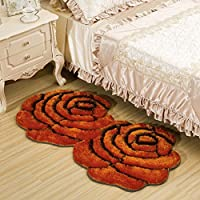 MAXYOYO 3D Colorful Double Rose Floor Mat Runner Bedside Rug Bedroom - Fluffy Romantic Rose Ultra Soft Carpet Area Rug 28 55 Inch
