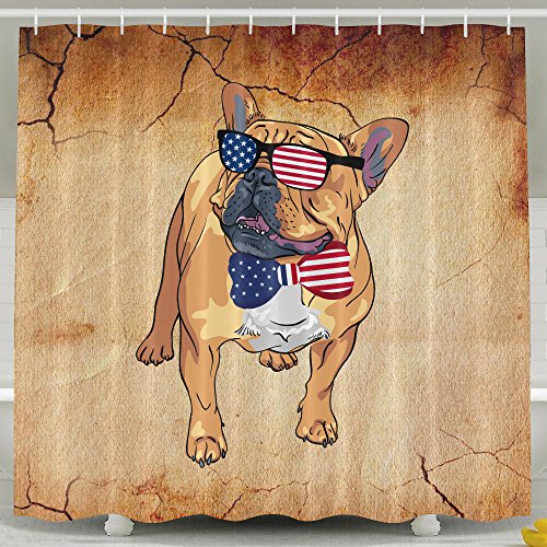 French Bulldog USA Flag Sunglasses Tie Bath Shower Curtain Fabric Bathroom Curtain Set With - Bulldog French Sunglasses