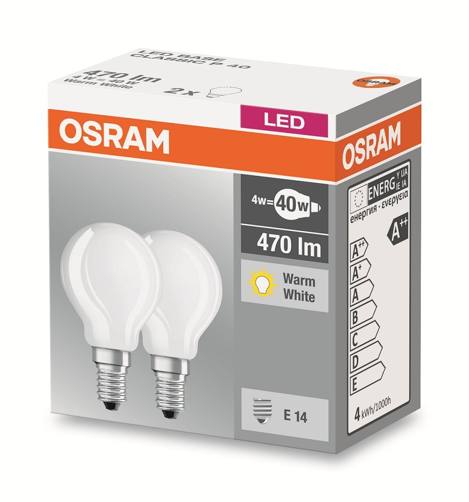 Osram LED Base Classic P/LED-Lampe in Tropfenform mit E14-Sockel ...