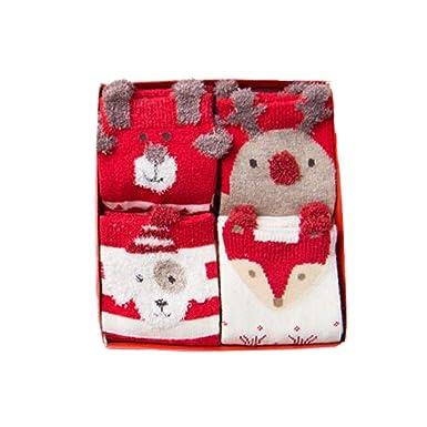 6e026a9cf7a20 Fangcheng 4 Paire/Lot De Noël Chaussettes Nouvel An Cadeau Automne Hiver  Enfants Garçons Filles