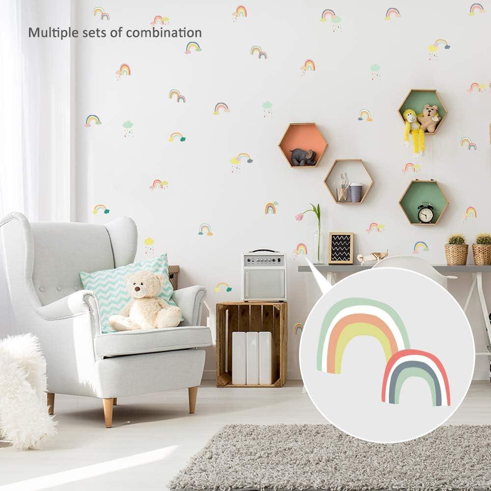 Vinyl Waterproof Decoration for Kid Girl Nursery Teen Baby Bedroom Living Room Cute Removable Peel and Stick Wallpaper Rainbow Wall Decals Stickers