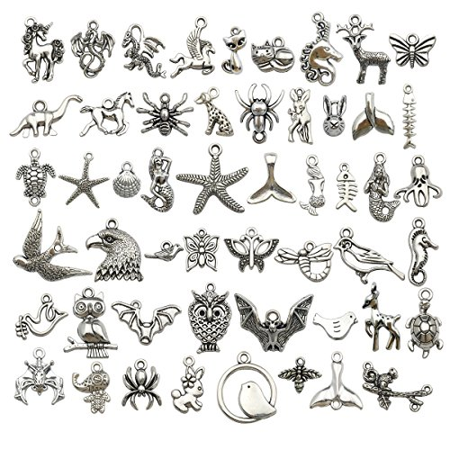 iloveDIYbeads 120g (about 100pcs) Craft Supplies Small Antique Silver Animals Charms Pendants for Crafting, Jewelry Findings Making Accessory For DIY Necklace Bracelet (Silver Animal Charms) (Turtle Charm Earrings)