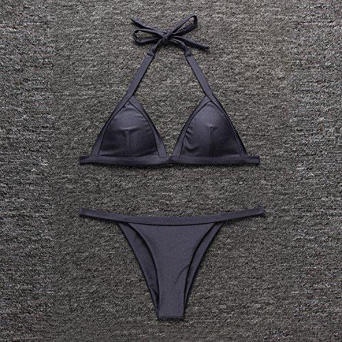 X-HERR Mujer Brillante Corbata Personalizada Triángulo Sostén Brasileño Braguita Bikini Trajes de Baño Gris