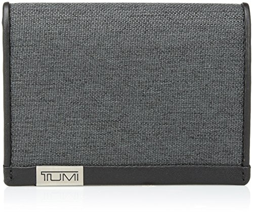 (TUMI Men's Alpha ID Lock Gusseted Card Case Wallet, Anthracite/Black, OneSize)