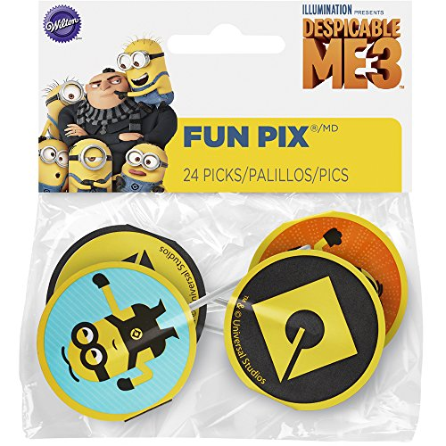 Wilton 2113-7112 24 Count Despicable Me 3 Minions Fun Pix, Assorted -