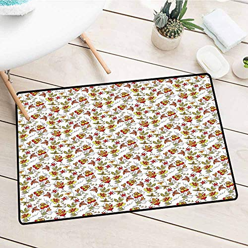 (Miki Da Commercial Door Mat,House Decor,Vintage Fabric Design Style Traditional Exotic Plants Flowers Pattern Fall Colors,Custom Ad Slogan Printed Available,29.5x39 inches)