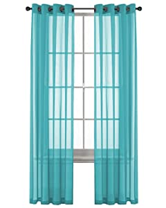 GoodGram 2 Pack Ultra Luxurious High Woven Elegant Sheer Grommet Curtain Panels - Assorted Colors (Turquoise)