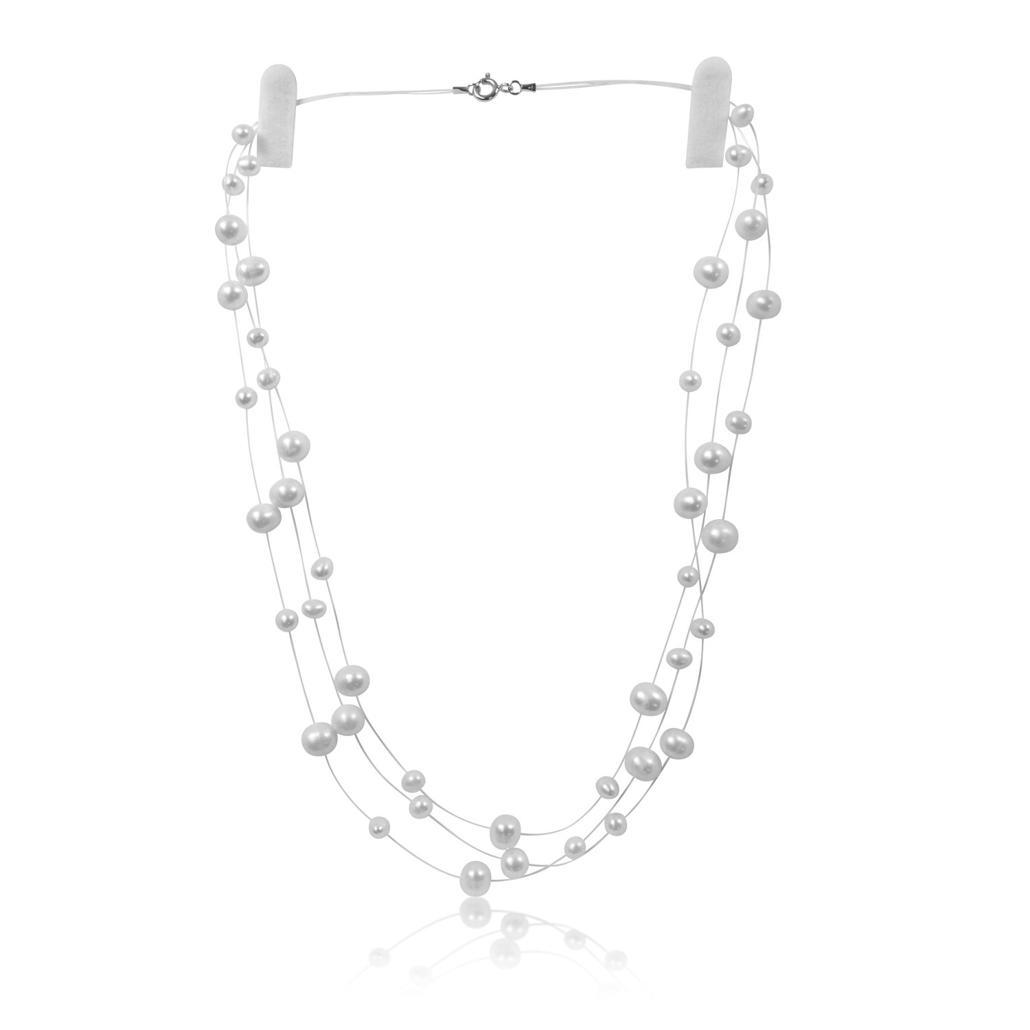PearlsNSilver Sterling Silver Cultured Bridal White Pearl Illusion Necklace Earrings 18'' 20'' 3 or 6 Strand (3 strands 16'' - 18'')