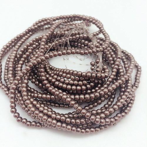 PEPPERLONELY Brand 5 Strands (About 54Grams 1150 PC) Dark Gray Glass Pearl Round Beads, 3mm(1/8 Inch)