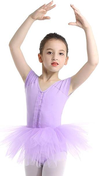 IEFIEL Maillot Tutú Ballet Niña Leotardo con Falda Manga Corta ...