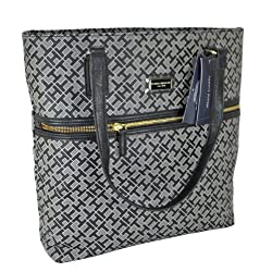 Tommy Hilfiger Handbag, Coated Canvas Tote in Black/Tan