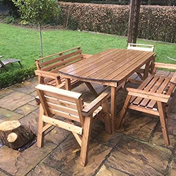 Brilliant 6 Table 2 Benches 2 Chairs Solid Wooden Garden Furniture Set Super Sturdy Home Interior And Landscaping Ologienasavecom