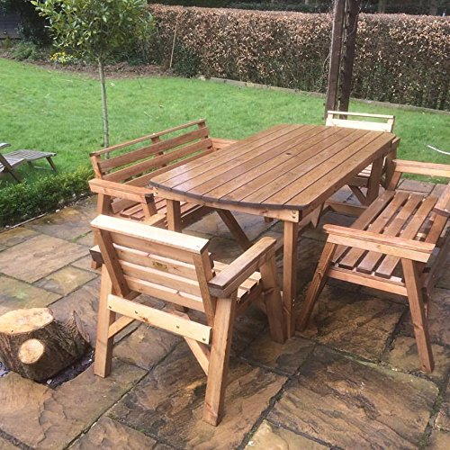 6′ Table 2 Benches & 2 Chairs. Solid Wooden Garden Furniture Set. * SUPER STURDY *