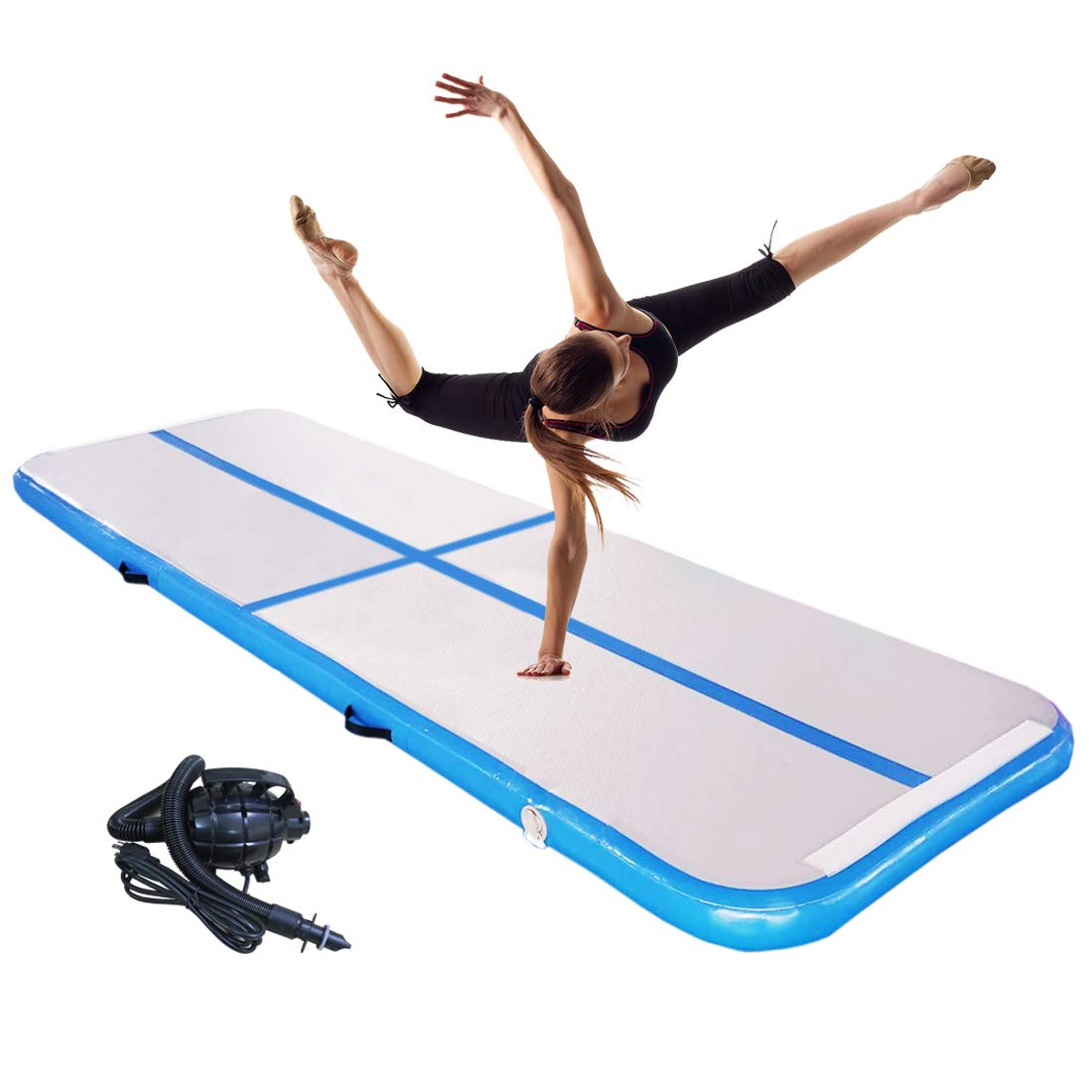 DAMA Inflatable Air Floor Tumbling - Mat Airtrack Mats with Electric Air Pump for Home Use Gymnastic Training Yoga Aerobic Exercises Park Beach and Water