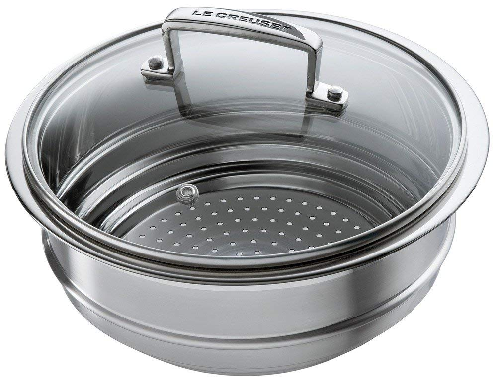 Le Creuset Stainless Steel Multi-steamer with Glass Lid, fits 16, 18 and 20 cm Le Creuset 3-ply Stainless Steel Saucepans and Casseroles SSC9000-20