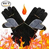 CCBETTER Leather Forge Welding BBQ Gloves with Long Sleeve and Insulated Cotton Lining, Extreme Heat and Fire -Resistant Grill Gloves (Black)