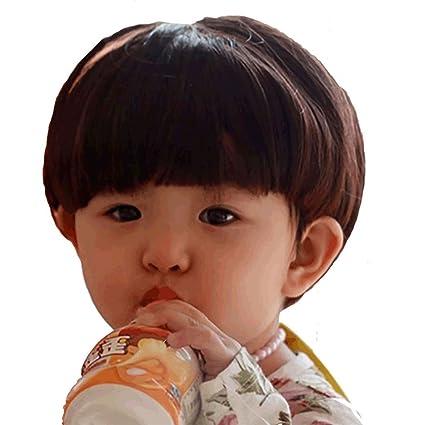 Shangke - Peluca de pelo corto para bebé, peluca con ganchos de almacenamiento para niños