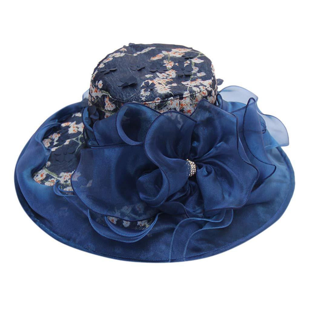 Loosebee Women's Organza Church Kentucky Derby Fascinator Bridal Tea Party Wedding Hat Navy by Loosebee_Hat