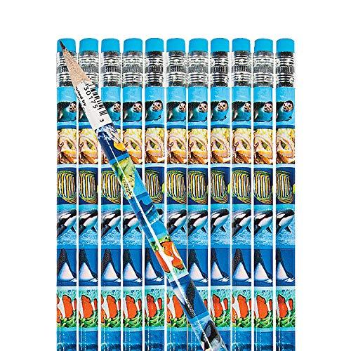 "24 ~ Ocean Life Pencils ~ Wooden/Approx. 7.5"" / #2 Lead ~ New ~ Fish, Sea Animals"