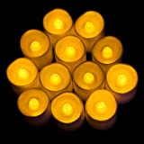 SOMUNS Flameless Tea Lights, Warm White Flickering Bulbs Battery Operated Fake Electric Candles for Wedding Party Club Decor 12pcs