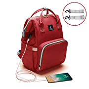 Baby Diaper Bag Backpack,NUTK Multi-Function Waterproof Nappy Bags,Large Capacity, Durable and Stylish Travel Backpack with USB Charging Port for Mom Students Men Girls Boys,Red