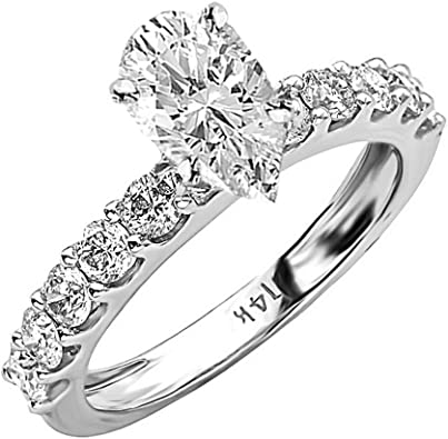 2.00 CTW Pear Shape Cut Solitaire Wedding Engagement Ring Set In 14k White Gold
