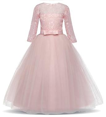 05b2d256230bb AmzBarley Fleur Filles Robes De Mariée Élégant Dentelle Tulle Princesse Robe  De Soirée Enfants 3