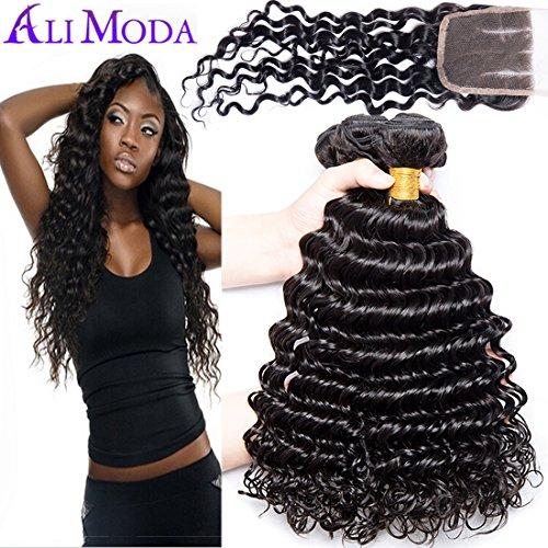 Ali Moda Brazilian 9A Deep Wave 3 Bundles 4X4 Lace Closure 3