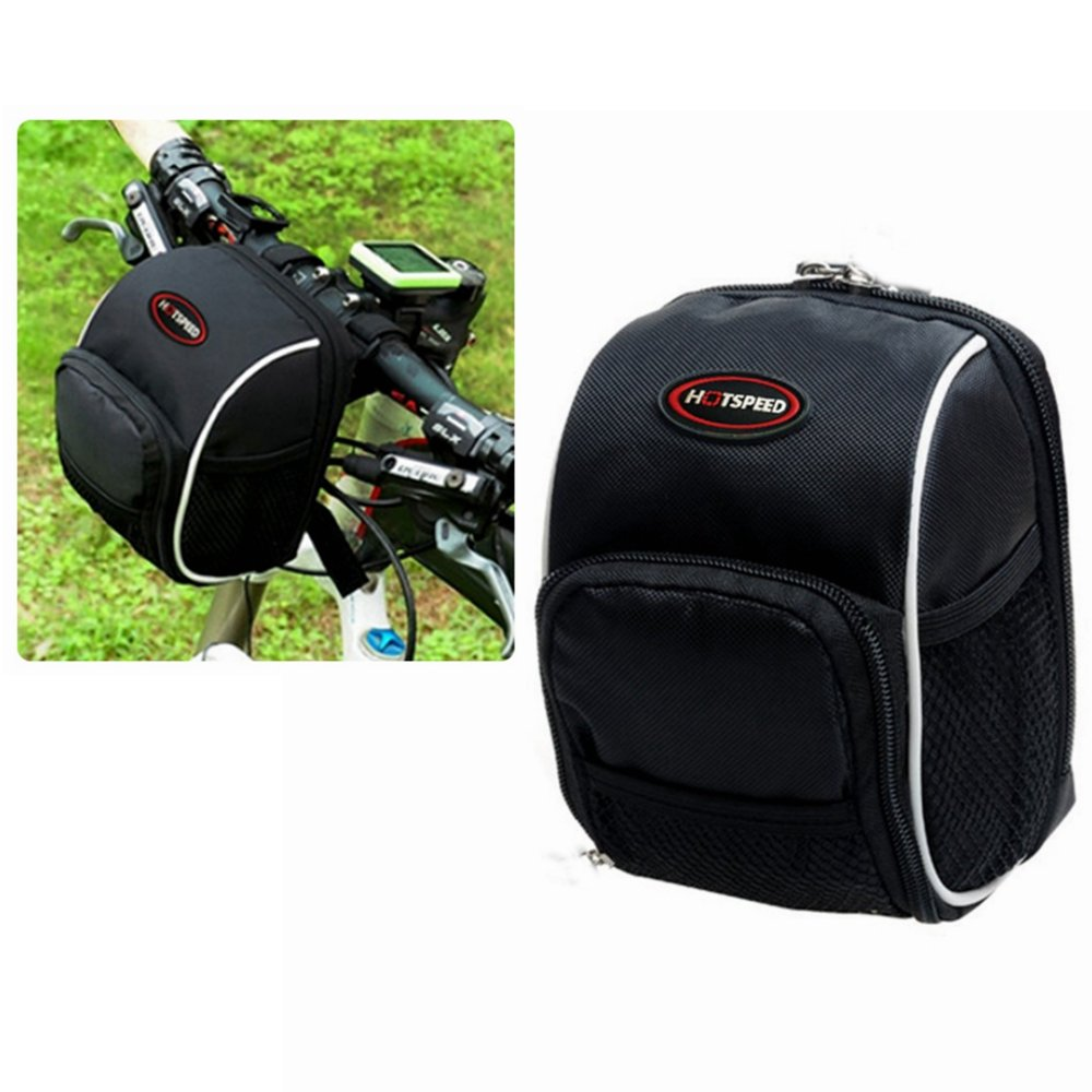 Bike Handlebar Bag, Bicycle Front Bags Cycling Waterproof Storage Under Seat Pack with Rainproof Cover Black by LC-dolida by LC-dolida (Image #1)