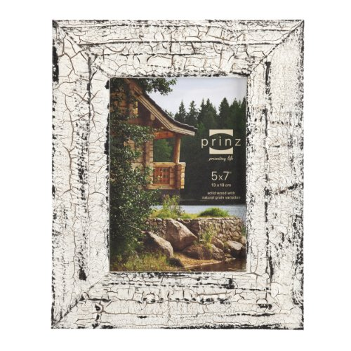 Prinz Birch Antique Solid Wood with Natural Grain Frame for 5 by 7-Inch Photo, White - Natural White Picture Frame