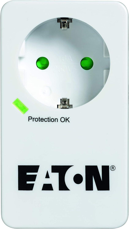 Eaton Protection Box 1 TEL@ DIN Adaptateur de Prise avec Protection Contre Les surtensions Prise Schuko, Protection t/él/éphone Blanc