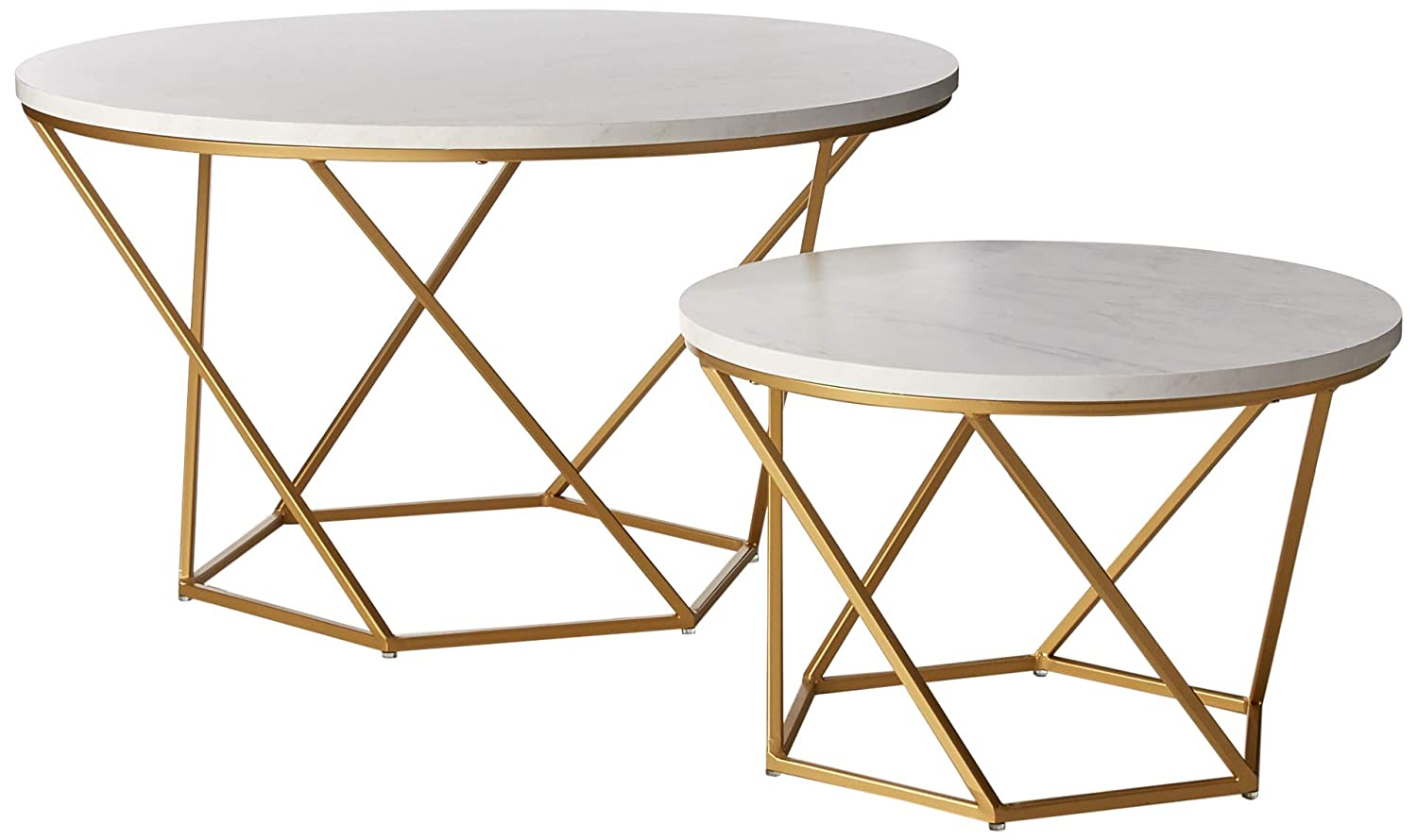 WE Furniture AZF28CLRGMG Modern Geometric Nesting Coffee Tables for Living Room, Set of 2, Faux White Marble Top with Gold Base