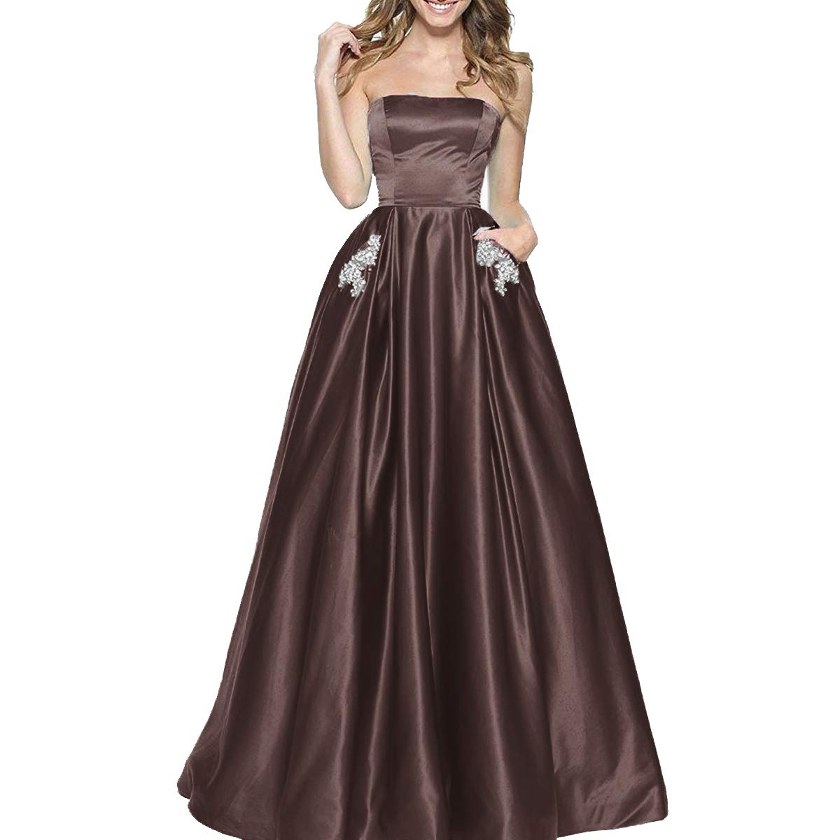 Coffee TTYbridal Women's ALine Strapless Beaded Prom Dresses Long Satin Homecoming Party Gown with Pockets