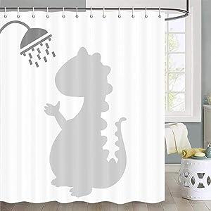 Funny Dinosaur Shower Curtain for Kids, Creative Dinosaur Taking Bathing in Bathtub Shadow Funny Shower Curtain, Kids Shower Curtain Funny Bathroom Set, Fabric Shower Curtain Hooks Include, 70 in