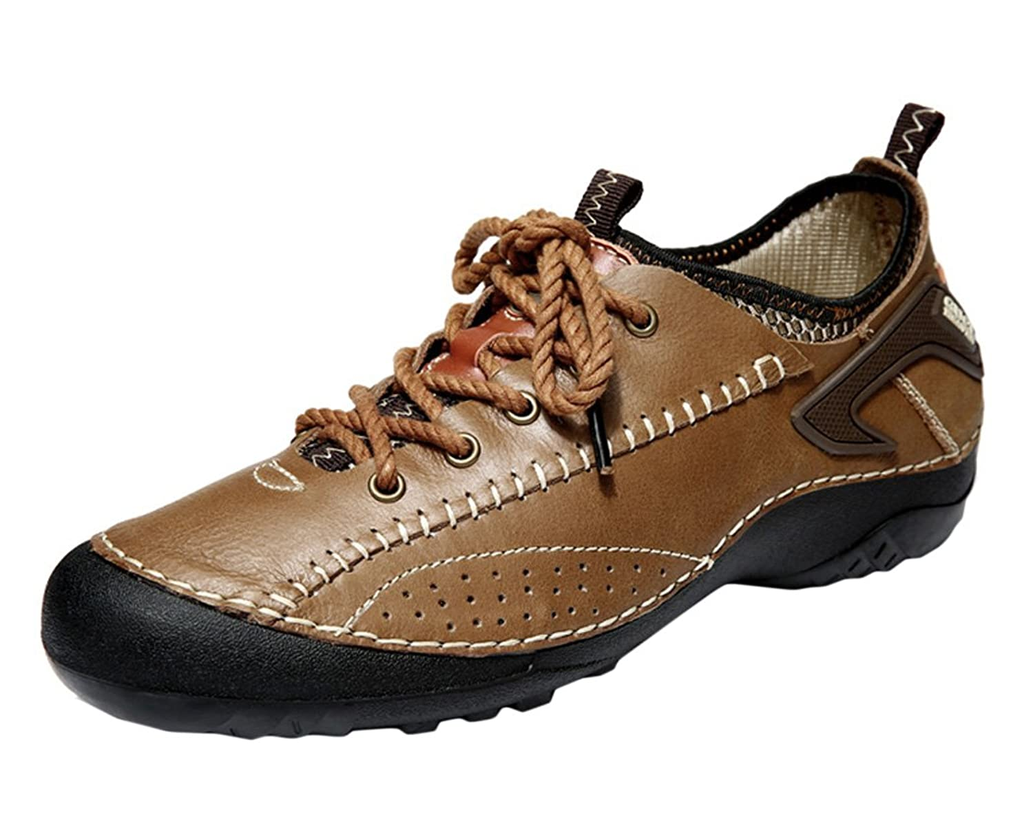 Guqitianlun Mens Breathable Leahter Outdoor Hiking Shoes