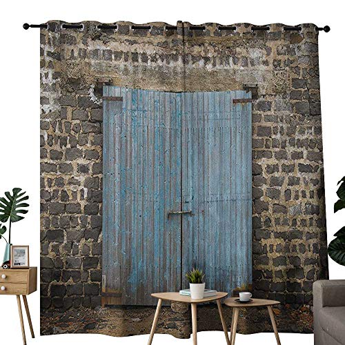 NUOMANAN Curtains Rustic,Stone Wall of Dated Closed Barn Gothic Medieval European Urban City Town Scenery, Blue Grey,Thermal Insulated Panels Home Décor Window Draperies for Bedroom 54